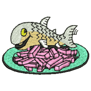 Fish and Chips Logo http://www.embroiderymill.co.uk/acatalog/Fish_and_Chips_11151.html